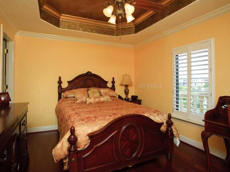 One of the three bedroom suites on the second floor, includes a private bathroom.