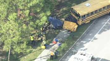 A school bus and car crashed in Seminole County on Friday afternoon.