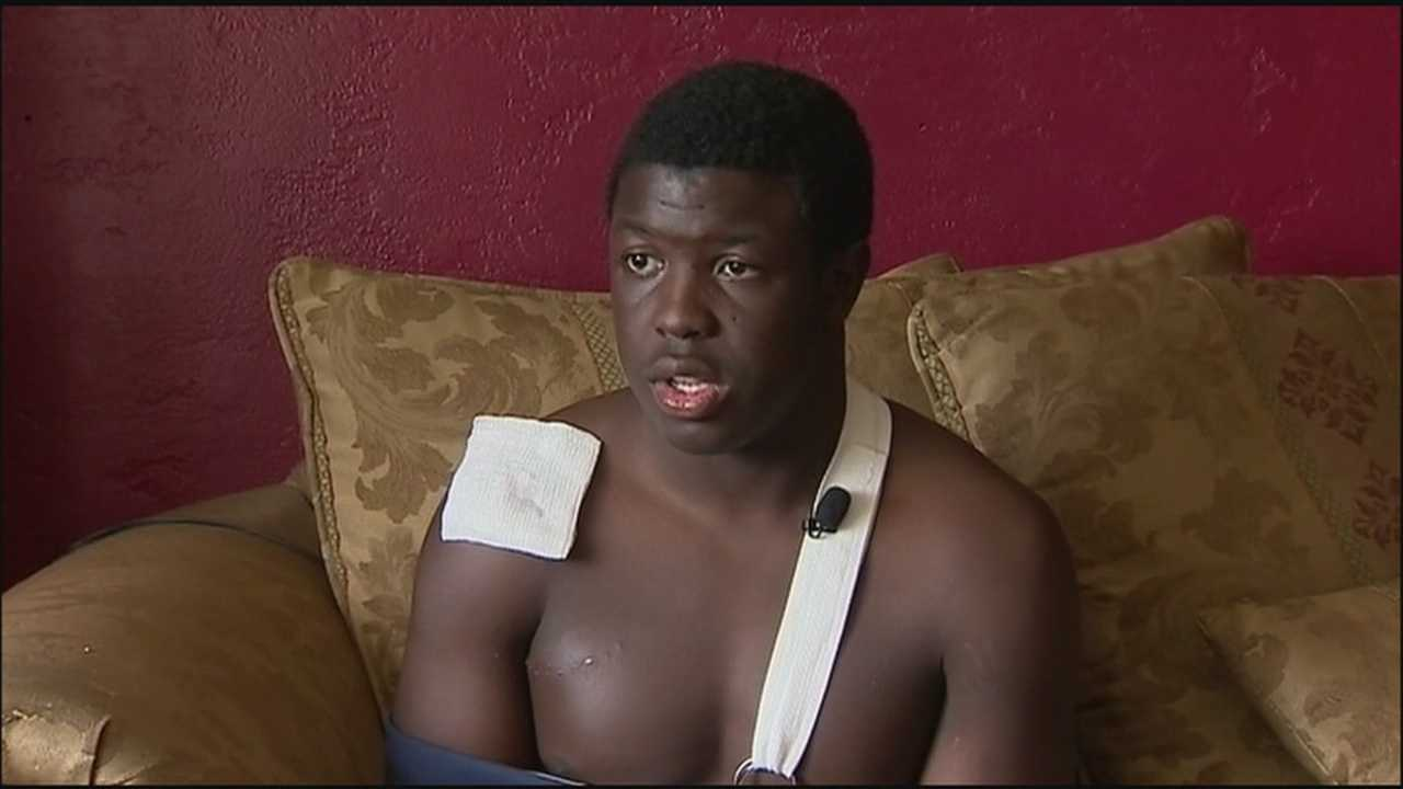 A Seabreeze High School football player who was bitten by a shark on Labor Day said he is in no hurry to swim in the ocean again, but he can't wait to get back onto the gridiron.