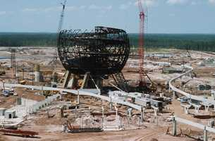 The iconic Spaceship Earth being built.