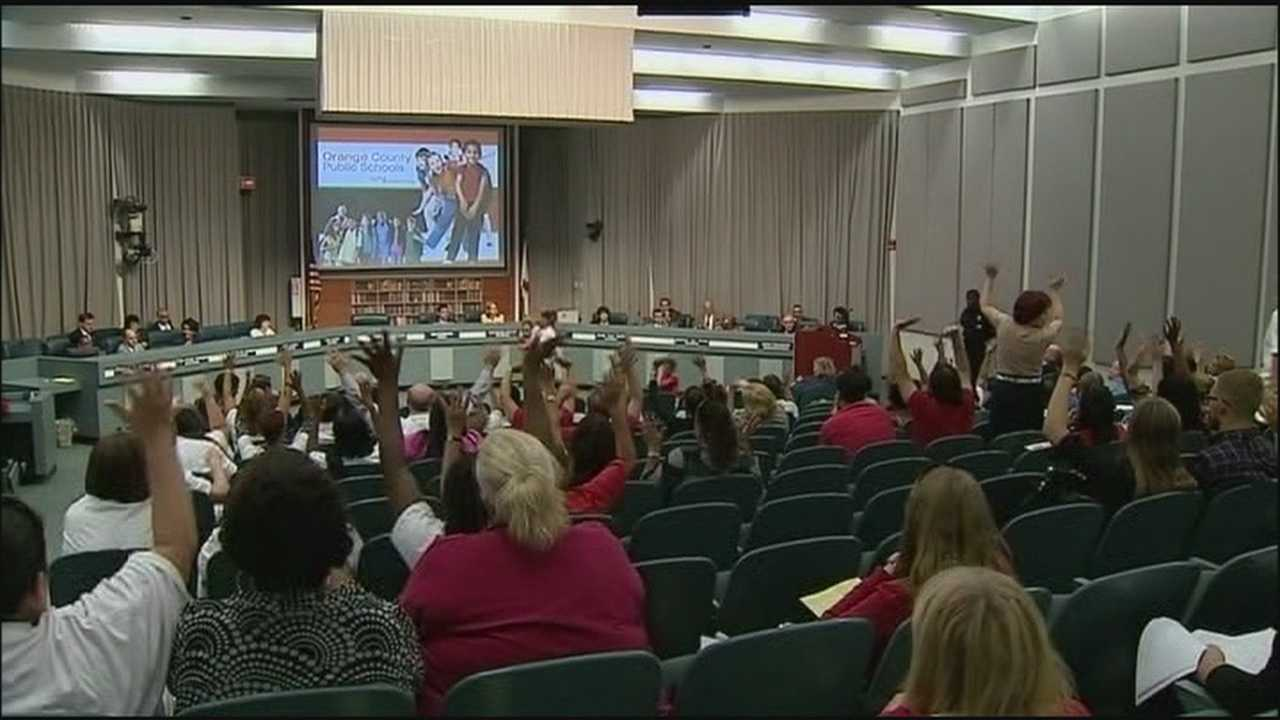 Dozens of Orange County teachers attended a school board meeting Tuesday night to make their case for a pay raise.