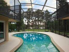 The huge covered pool is perfect for family fun.