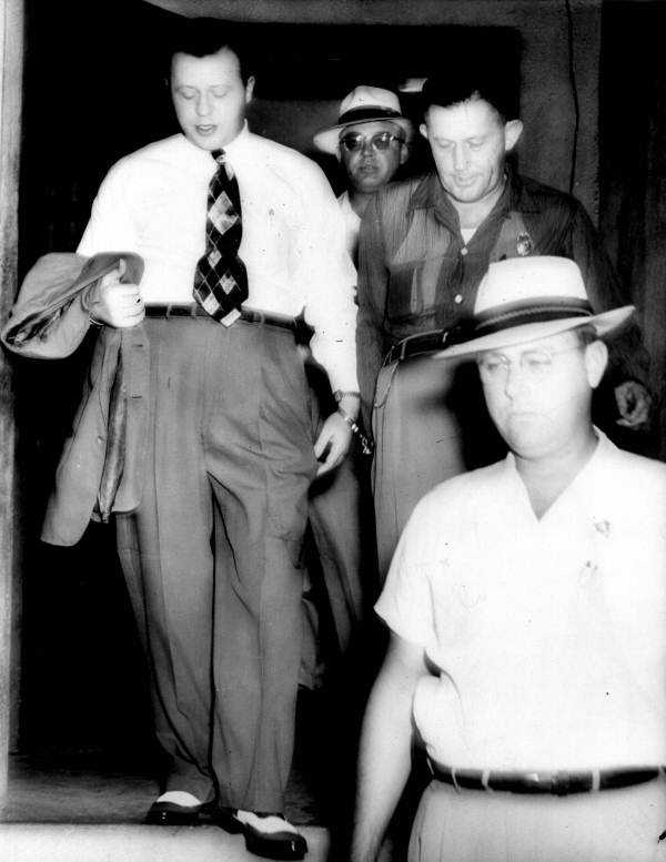 Avon Ellwood North was executed at age 37 for murder in Polk County.  North, a funeral director in Fort Meade and Lake Wales, was executed on Oct. 4, 1954 for the 1951 murder of Betty Albritton, widow of his former partner in the cattle business, by poisoning and then strangling. (Shown handcuffed to Sheriff Pat Gordon.)