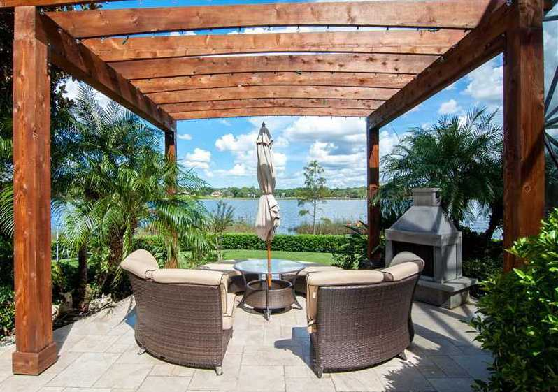 A pergola provides the perfect space to sit under the stars.
