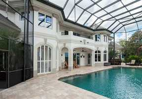 Wide view of the beautiful pool space.