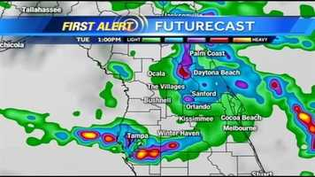 See an hour-by-hour look at when rain is expected on Tuesday.