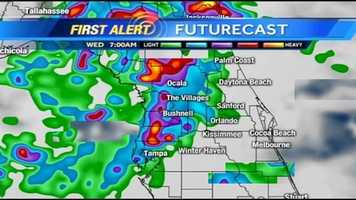 See an hour-by-hour estimate of rain expected to fall Wednesday.