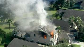 Chopper 2 pilot Dan McCarthy spotted a house fire in the Hunter's Creek area before fire crews arrived Thursday afternoon, so WESH 2 News called 911.