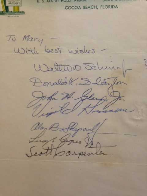 Autographs of all 7 original astronauts: valued at $5000.