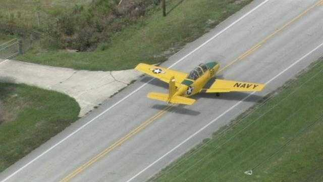 A plane that made an emergency landing on a Volusia County road resumes flight.