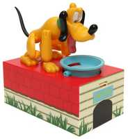 A movable Pluto bank is just one of the new toys available at the Disney parks this fall.  According to Disney, when a coin is dropped into Pluto's dish, he licks the plate clean.