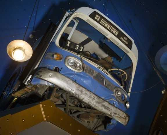"""The bus from """"Speed"""" now hangs from the ceiling in the main Planet Hollywood dining room."""