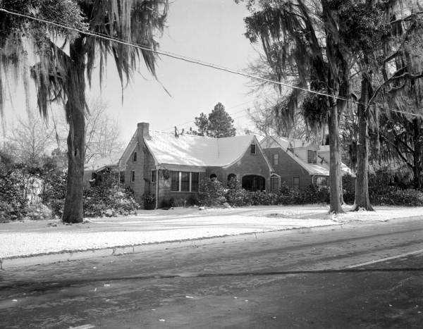 A brick house in Tallahassee, Florida, covered in snow. Photograph taken in 1955.