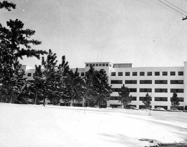 Tallahassee Memorial Hospital surrounded by snow. Photograph taken in 1958.