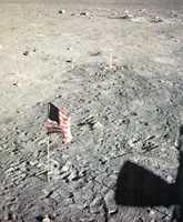 The American flag placed by Neil Armstrong on the moon.  Photograph taken in 1969.