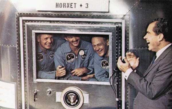President Nixon welcomes back the crew of Apollo 11.  From left to right: Neil Armstrong, Michael Collins, and Edwin Aldrin.  Photograph taken in 1969.