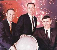 "The astronauts on the Apollo 13 mission.  From left to right:  James A. Lovell, Jr., John L. Swigert, Jr., and Fred W. Haise, Jr.  Photograph taken in 1970. This mission would the inspiration for the ""Apollo 13"" film starring Tom Hanks, Kevin Bacon, and Bill Paxton, who played the astronauts sequentially as listed."