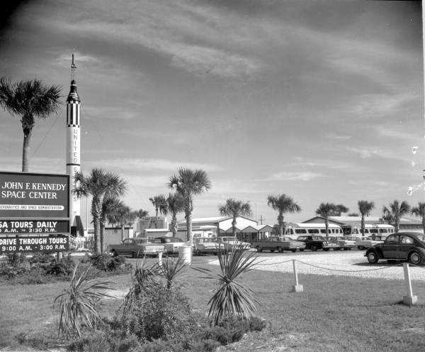 The entrance to the John F. Kennedy Space Center in 1967.