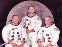 The Apollo 11 crew.  From left to right:  Neil A. Armstrong, Michael Collins, and Edwin E. Aldrin.  Photograph taken in 1969.  This mission gave America the opportunity to have the first man on the moon.