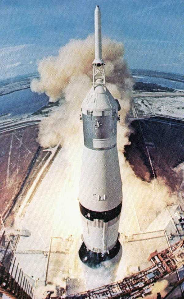 The front view of the takeoff of the Apollo 11 spacecraft.  Photograph taken in 1969.