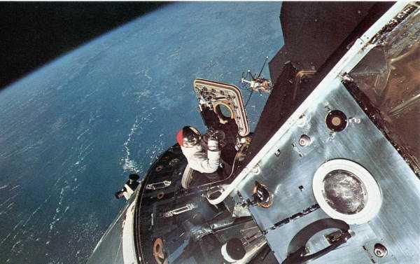 Photo taken by David R. Scott. An astronaut in space in 1969.