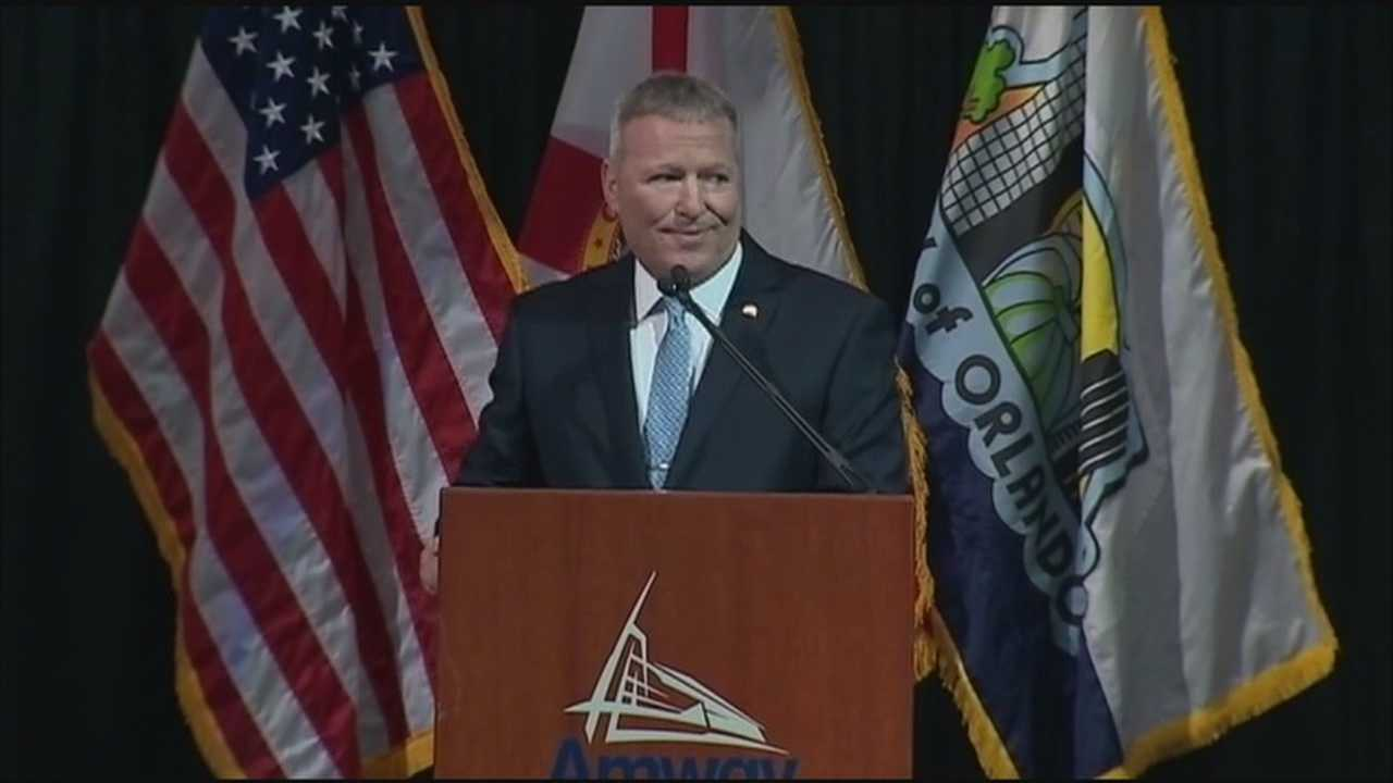 Mayor Buddy Dyer gives his State of Downtown address to residents at Amway Arena about the future of Downtown Orlando.