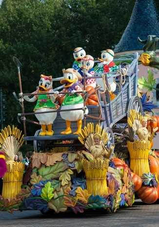 The parade will feature memorable characters including Clarabelle, Scrooge, Donald, Daisy, Huey, Dewey and Louie.