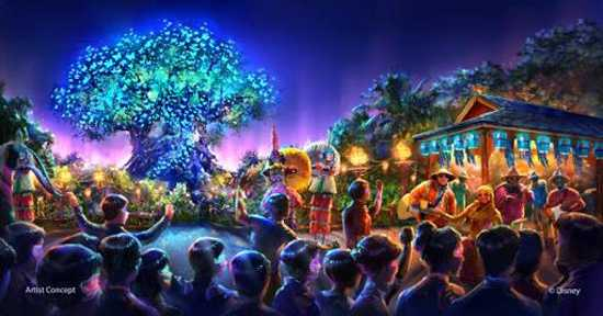 "Disney also says they will be adding new entertainment to Animal Kingdom, ""including a new nighttime spectacular where live music, floating lanterns, water screens and swirling animal imagery all combine to bring a show to Discovery River that will delight our guests and truly cap off their day at Disney's Animal Kingdom."""