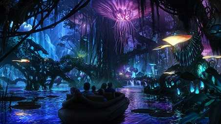 """""""Guests will encounter awe-inspiring floating mountains and wander through a nighttime jungle of bioluminescent plants that are alive with light and sound,"""" said Tom Staggs, Walt Disney World Parks and Resorts chairman."""