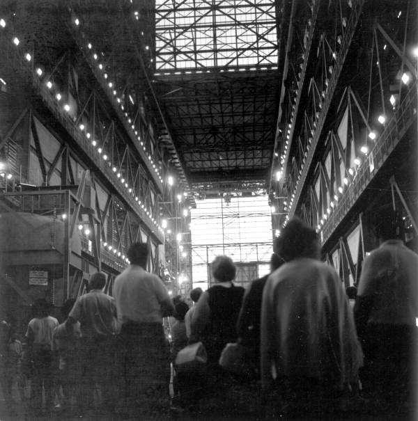 Tourists view the interior of one of the building at the space center in 1970.