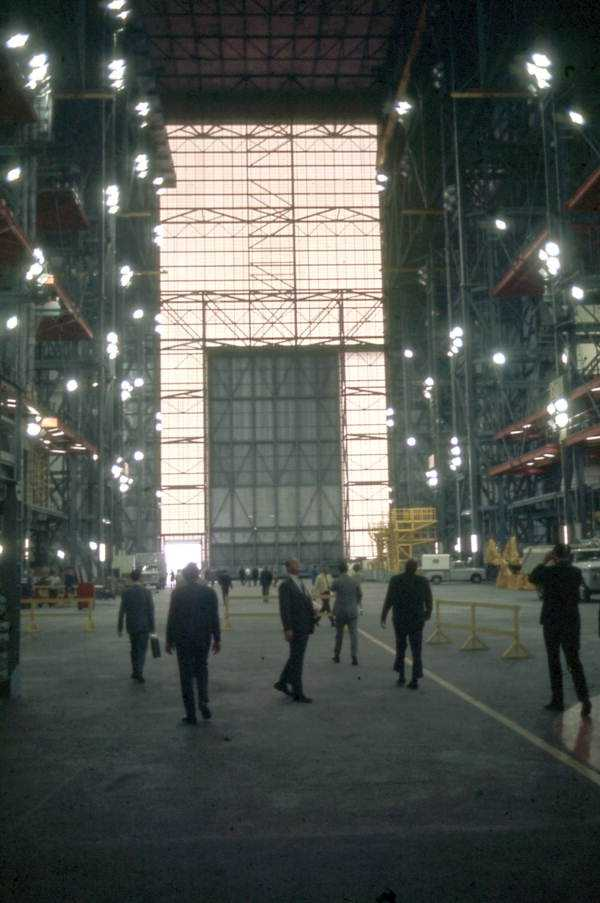 Interior view of the vehicle assembly building at the Kennedy Space Center in the 1990s.