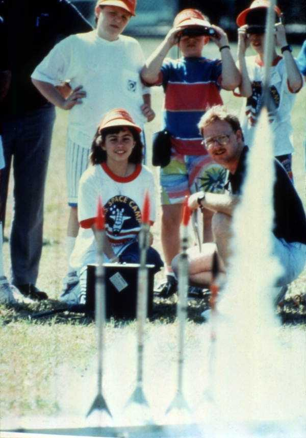 Children launch rockets at Space Camp in the 1988.