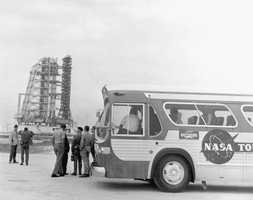 Visitors on the NASA tour  in 1970.
