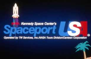 A sign for Spaceport USA in the 1990s.