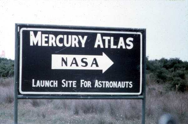 A sign to famous Pad 14 from where all of our earth-orbiting astronauts were first launched, taken in the 1960s.