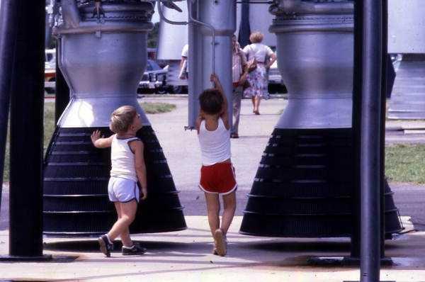 Children walk around the rocket garden in the 1990s.