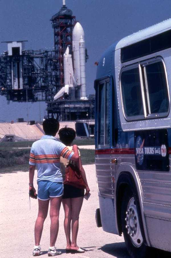Tourists viewing the shuttle in the 1980s.