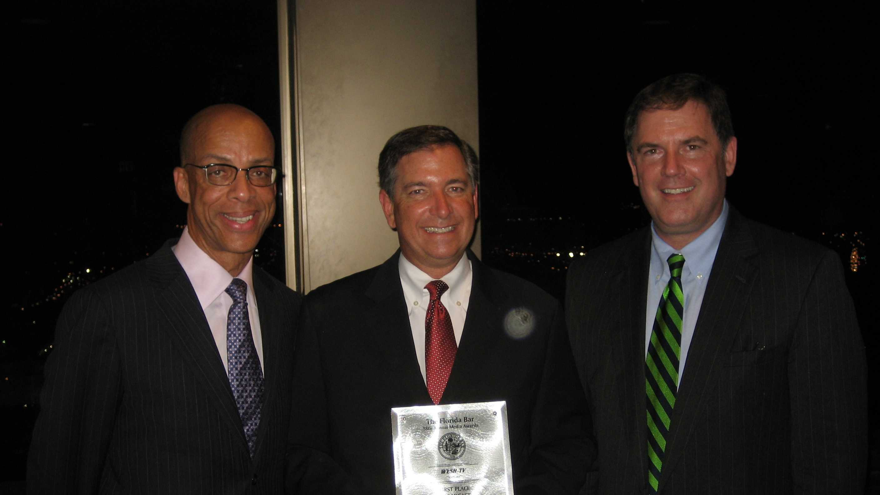 (L to R) Florida Bar President Eugene Pettis, Greg Fox, Florida Bar Media Awards Chairman Ed Birk