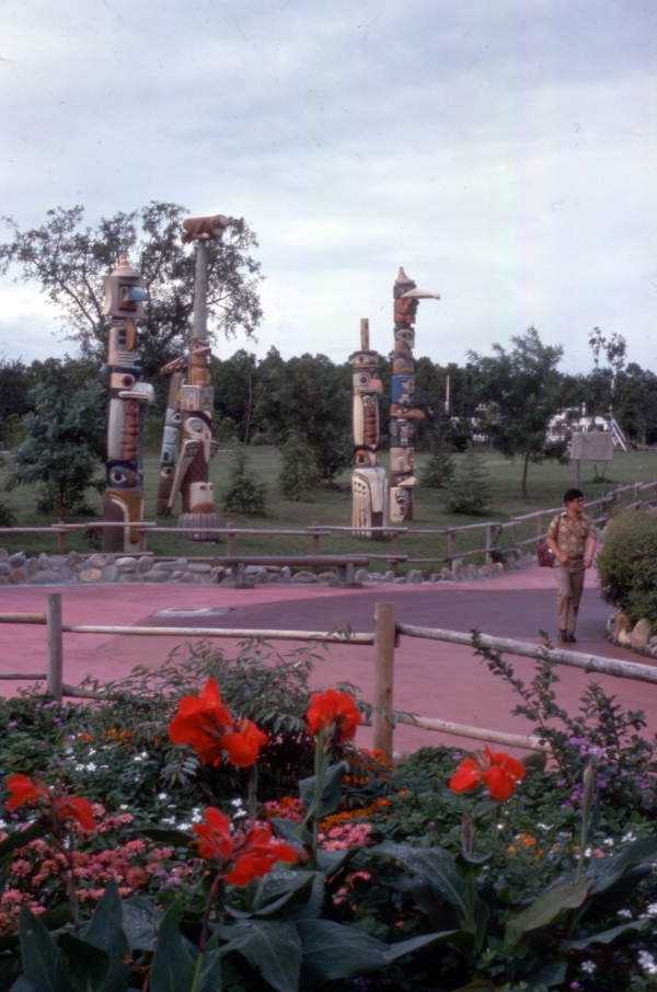 1975: Totem poles inside the park. Splash Mountain now sits in this general area.