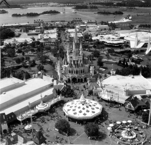 1976: An aerial view of the park looking toward Seven Seas Lagoon.