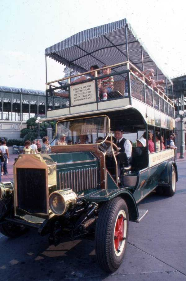 1977: The double-decker bus takes Magic Kingdom guests on a tour of Main Street, U.S.A.
