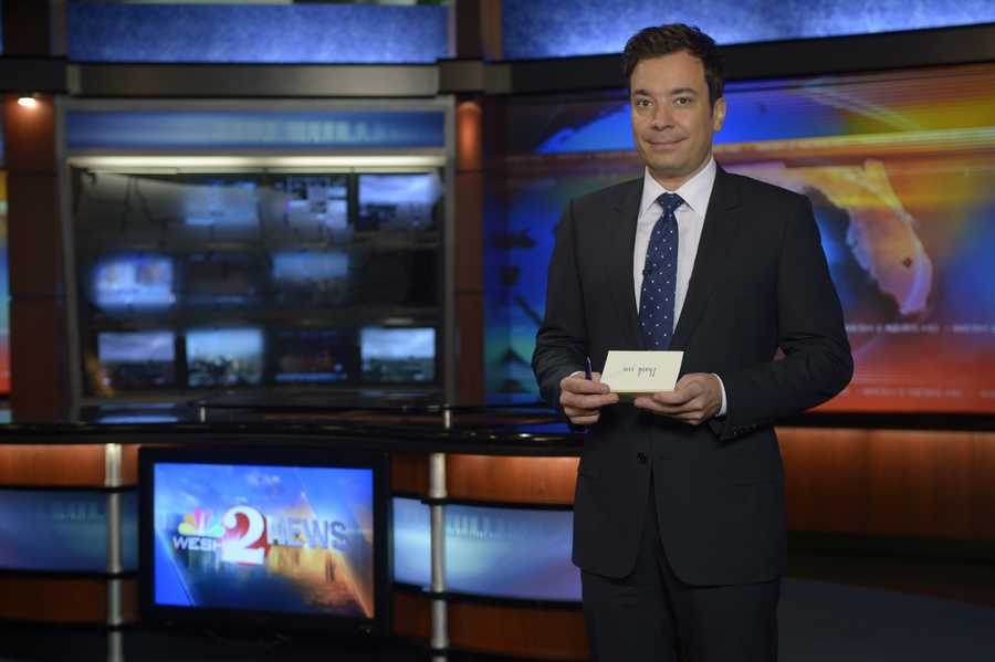 "Late night host Jimmy Fallon paid a visit to WESH 2 Wednesday to talk about his move to ""The Tonight Show"" in 2013. See behind the scenes pictures of his visit."