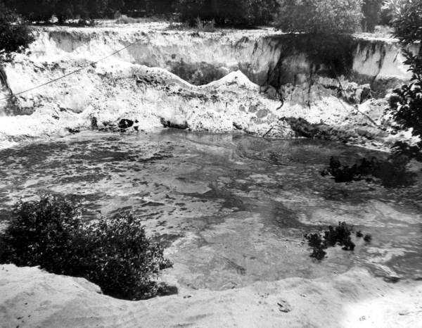 A sinkhole formed in Polk County, Fla. (Date not known).