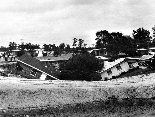 Two homes destroyed by a sinkhole in Ocala, Fla. in the 1950s.