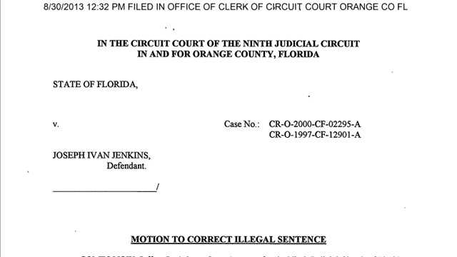 Aug. 30, 2013: Jenkins' forged release paperwork is filed with the Clerk of Court in Orange County.