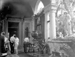 Visitors admiring the interior of the Vizcaya mansion.  Photograph taken in 1966