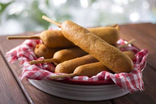 Hand-dipped corn dog