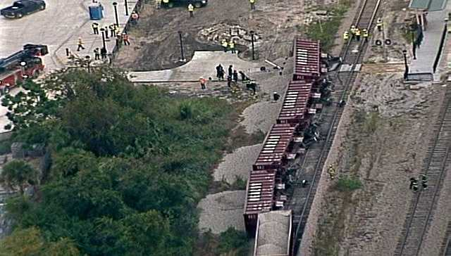 One person is dead in Sanford after a train car derailment.