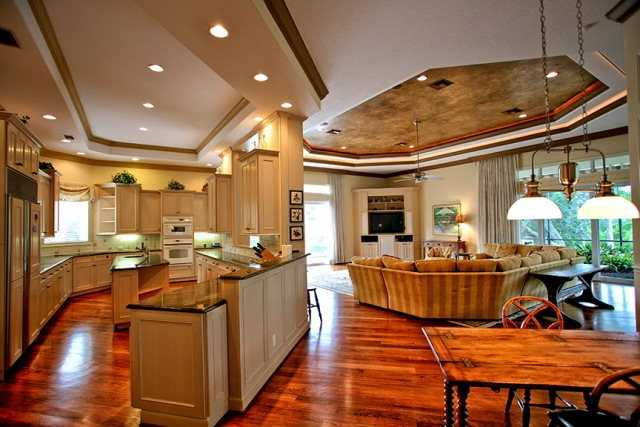 A quaint breakfast nook sits to the side of the kitchen.