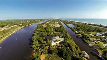 Aerial view of the property shows just show secluded the property is.